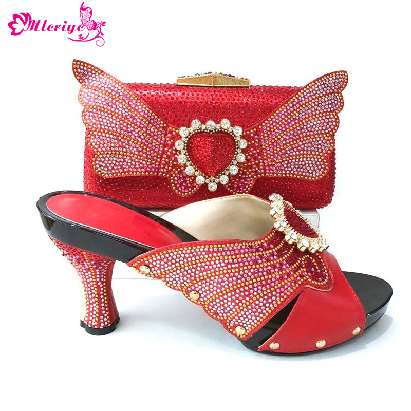 1165 Italian PU Leather Shoe and Bag Set Red Color Italian Shoe with Matching Bag Set 2018 Nigerian Shoes and Bag Set for Party