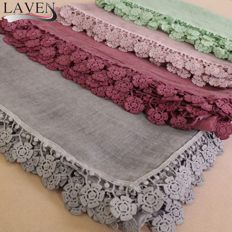 Laven Women high quanlity cotton tassels lace plain shawls hijab floral long nice headband 8 color