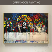 Artist Hand painted Especially Design Unfinished The Last Supper Oil Painting on Canvas Funny Art The Last Supper Oil Painting