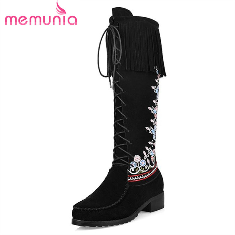 ФОТО MEMUNIA Ethnic style autumn winter long boots women restoring fashion boots flock embroidery tassel mid calf boots