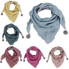 Детские повседневные однотонные средние плотные треугольные весенние клетчатые шарфы в горошек для маленьких девочек, осенне-зимние шарфы для мальчиков и девочек