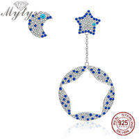 Mytys Genuine 925 Sterling Silver Sparkling CZ Moon Star Dangle Earrings StudEarring Uniquely Pair Fashion Jewelry CE402