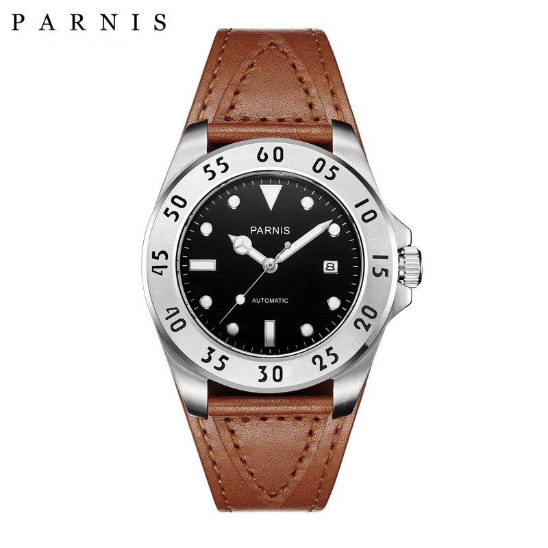 Parnis 43mm Watch Men Casual Leather Automatic Mechanical Watches Sapphire-Crystal-Watch PA6028 Men Present holuns original luxury automatic mechanical watch golden big dial sapphire mirror hollow watch men casual retro leather watches