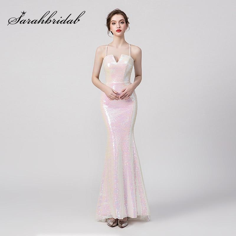 6438 30 De Descuentonuevos Vestidos De Dama De Honor De Primavera Verano 2019 Lentejuelas Rosa Largo Vestido De Dama De Honor Para Fiesta De Boda
