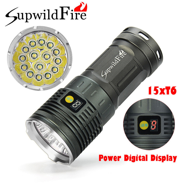 Dropshipping Supwildfire 50000LM 15 x XM-L T6 LED Power Digital Display Hunting Flashligt 7.20