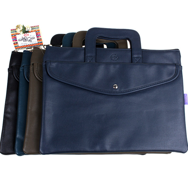 d41bc6e830c2 US $26.08 18% OFF|Dumei Pearl grain PU leather double deck document bag  file pocket with cover supplies men's business office Handbag NF 391-in  File ...