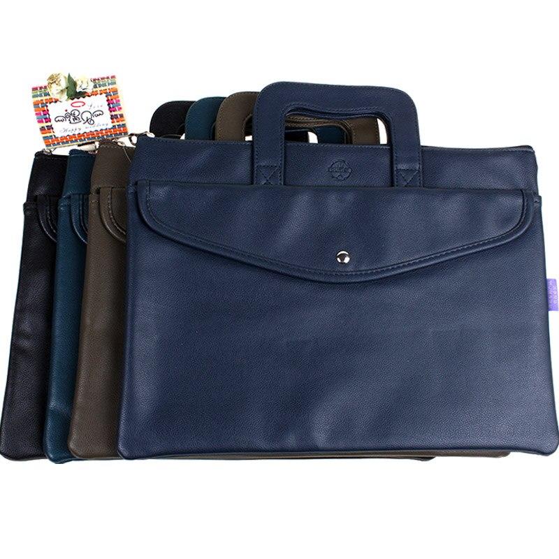 Dumei perle grain PU cuir double pont document sac poche avec couverture fournitures hommes d'affaires bureau sac à main NF-391