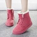 2016 Женщин Сапоги Теплая Зима Снег Сапоги Модные Ботинки Лодыжки Платформы Для Женщин Обувь Черный Botas Femininas