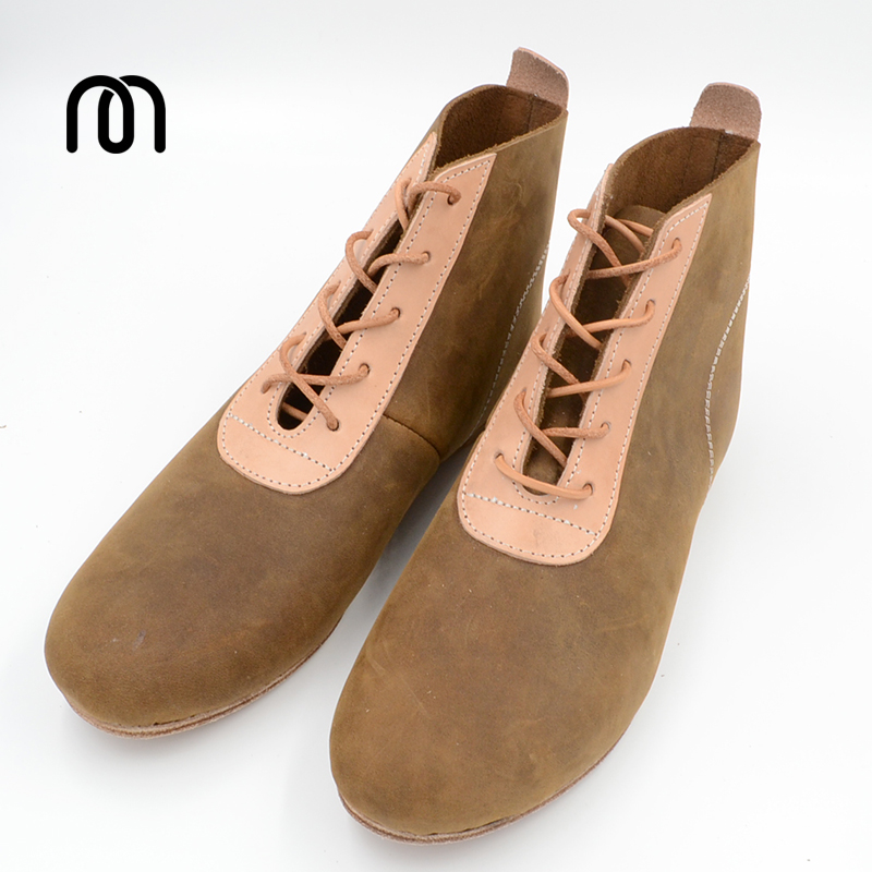 Millffy Handmade Pure Leather Crazy Horse Leather Vegetable Tanned Leather Stitching Bare Boots Horse Riding Shoes