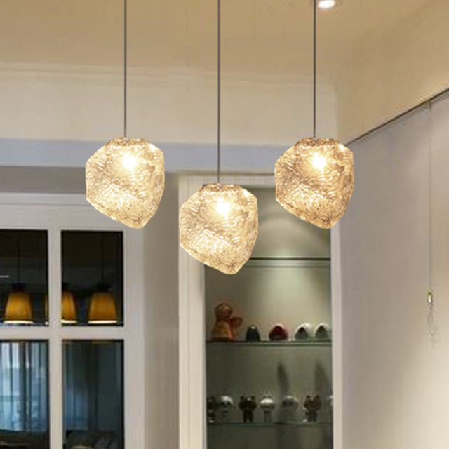 Personality Ice Lustre Glass Pendant Lamp Modern Crystal Heart Shade  Pendant Lights Home Deco DIY Dining