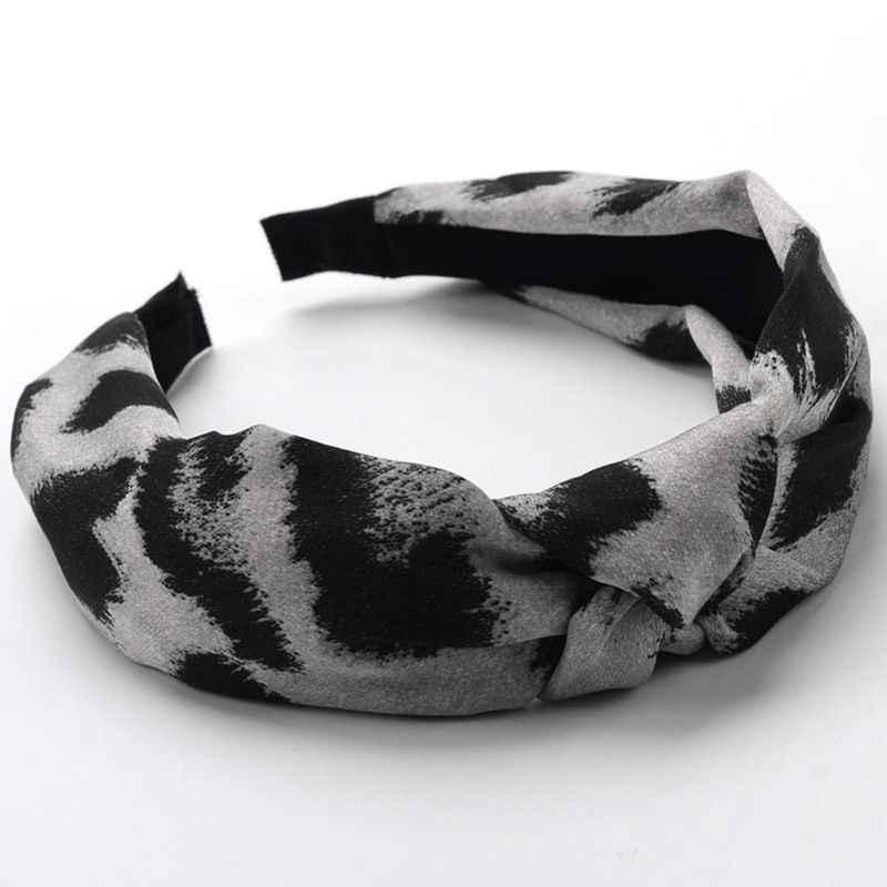 Vrouwen Dames Vintage Satijn Faux Zijde Haarband Digital Printing Leopard Snake Animal Geweven Haar Hoepel Grijs/Koffie Twist Geknoopt