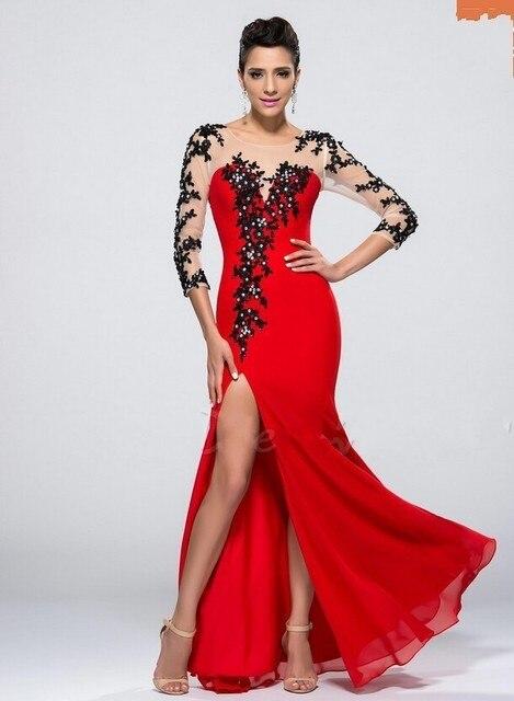 b4f571c78fd Maravilloso Vestido de noche de La Sirena Roja del Baile de Manga Larga  Apliques Vestido de