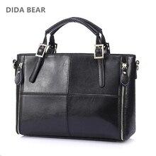 2017 Fashion patchwork designer cattle split leather bags women handbag brand ladies shoulder bags Vintage Black Brown Red Blue