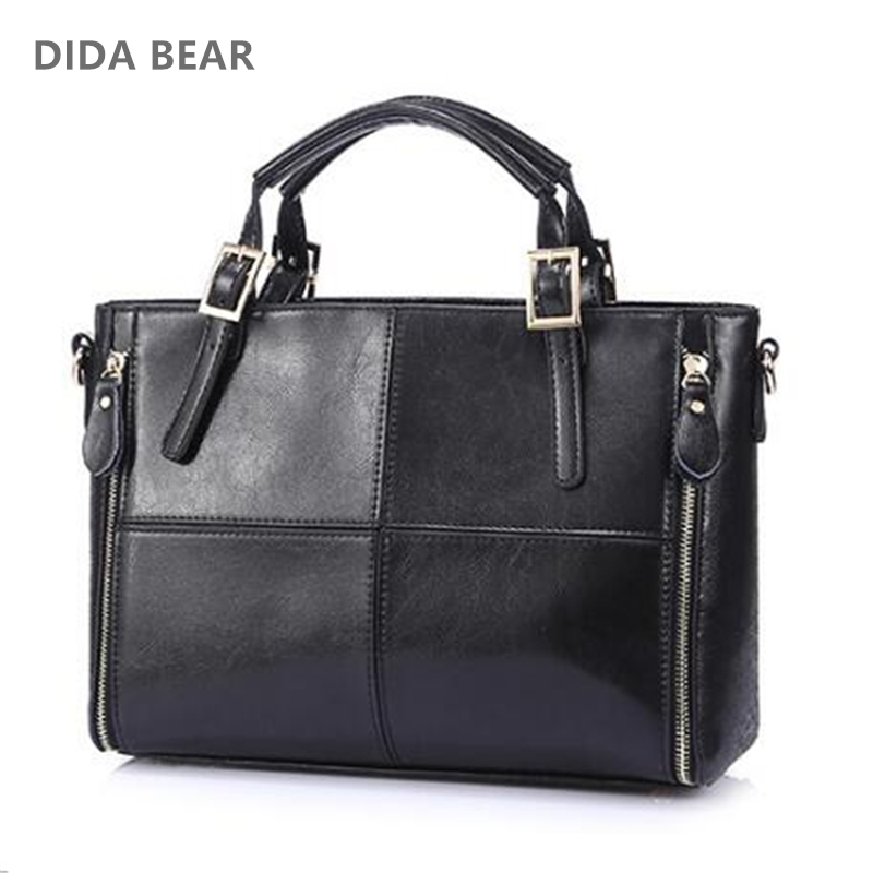 DIDA BEAR Fashion patchwork designer cattle split leather bags women handbag brand high quality ladies shoulder