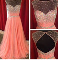 HS205 Pale pink Prom dresses 2016 With Crystal beadding Dresses Gown imported-party-dress NEW Arrival Customized color plus size