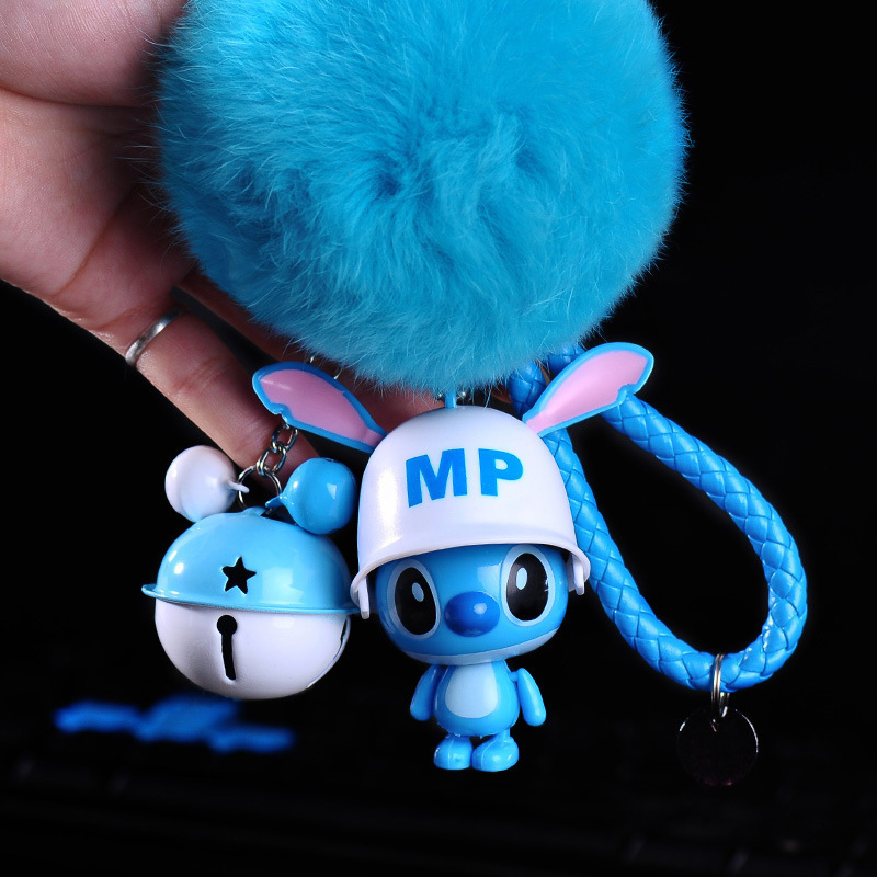 12 Styles Cute Cartoon Lilo And Stitch Keychain Stitch Key Ring Sound Flash Rope Bell Backpack Pandent Gifts Toys 2019