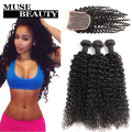 Queen 10A Brazilian Kinky Curly Virgin Hair With Closure 4pcs Brazilian Human Hair With Closure Tissage Bresilienne Avec Closure