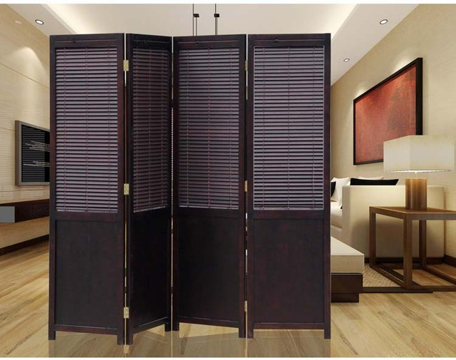 4 Panel Solid Wood Screens Room Dividers Freestanding Parion Folding Divider Privacy Screen Chinese