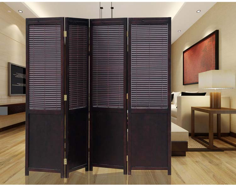4 Panel Solid Wood Screens Room Dividers Freestanding 4 Partition Folding Room Divider Privacy Screen Chinese Decorative Panel