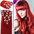 6A brasileiro virgem cabelo liso grampo em extensões de cabelo humano 7 pçs/set Red cor grampo em extensões do cabelo grampo em cabelo liso