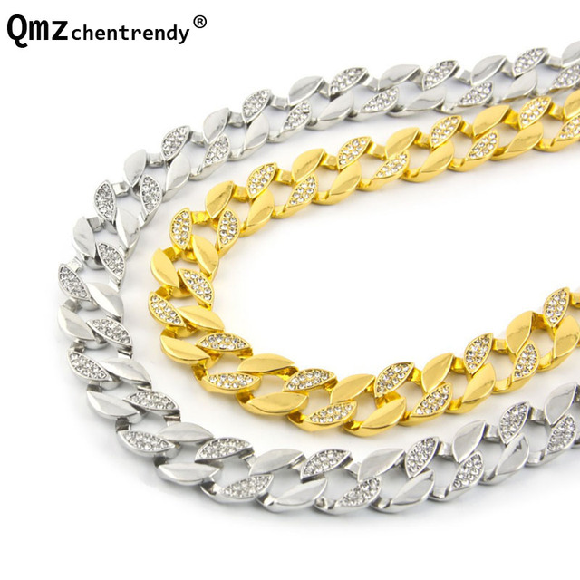 84ea7e7b3f Hip hop 30'' Iced Out Half Rhinestone Chain Necklaces 15MM Miami Cuban Link  CZ Gold Silver Hop Mens Cubra Necklace