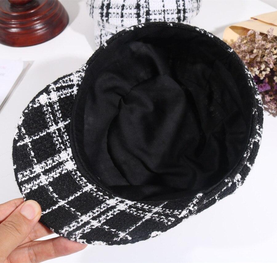 7772065b Yyun Female Black White Plaid Beret Women Winter Octagonal Cap Newsboy  Beret Hat Classical Painter Felt