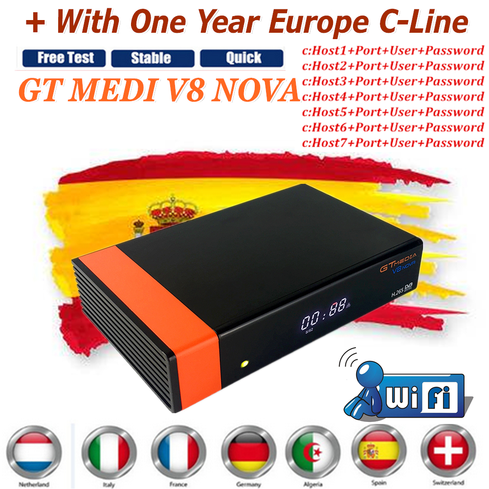 Best Decodificador GT Media V8 NOVA Satellite TV Receiver DVB-S2 With High Quality Stable 1 Year Europe Clines and WIFI Bulit-IN