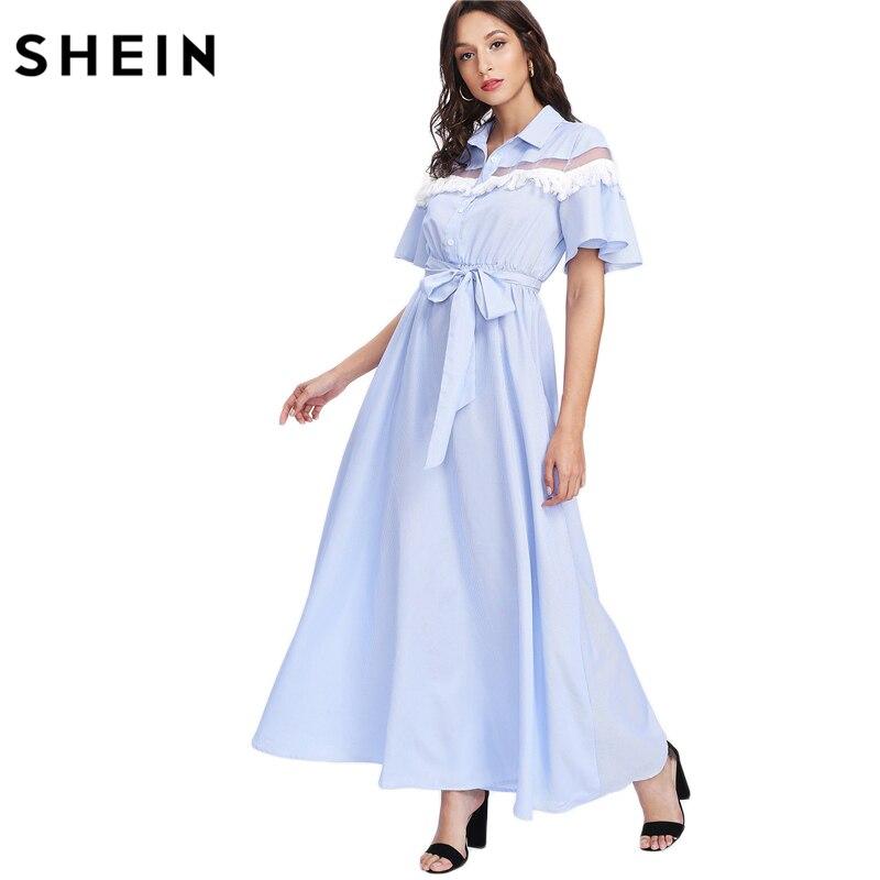 SHEIN Casual Maxi Dress Mesh Insert Dettaglio Frangia A Strisce Fit e Flare Abito  Blu Manica Corta A Vita Alta Una Linea vestito in SHEIN Casual Maxi Dress  ... f62bd4bc22e
