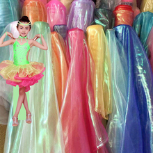 Stage costume wedding decor 2019 New Colorful Glass Cloth Yarn Fluorescent Clothing Network Transparent Gauze L94