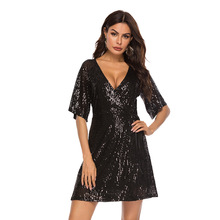 summer dress 2019 party vestidos quality womens sexy black sequins short-sleeved plus size clothes dresses top