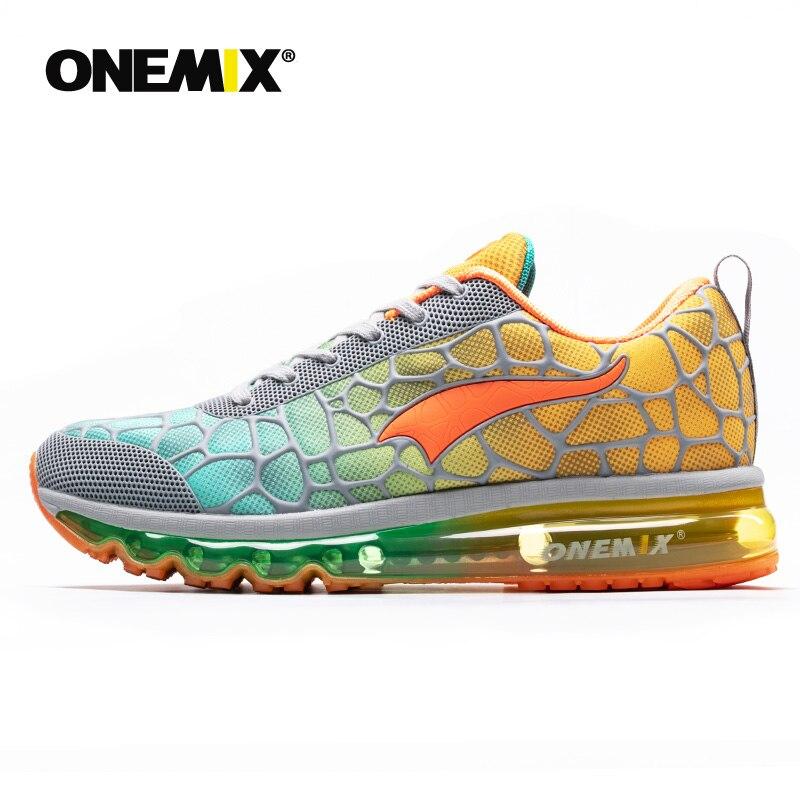 Onemix nouveaux hommes chaussures de course respirant en plein air athlétique marche baskets hommes sport chaussures de course grande taille 35-47