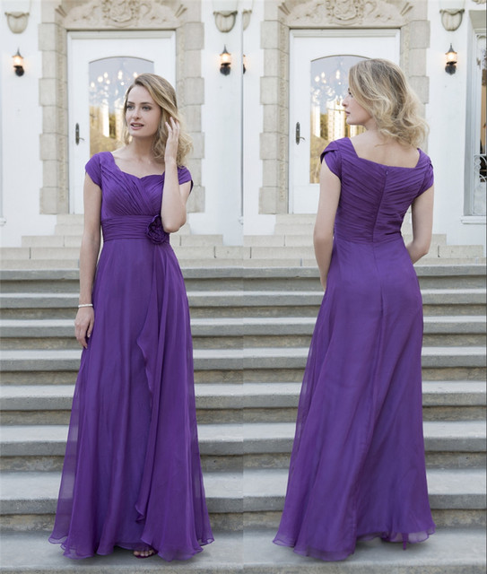 cdc5509316f0 Purple Chiffon Long Modest Bridesmaid Dresses 2019 With Cap Sleeves Pleats  Flowers Floor Length Country Bridesmaids Gowns Custom