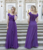 Purple Chiffon Long Modest Bridesmaid Dresses 2019 With Cap Sleeves Pleats Flowers Floor Length Country Bridesmaids Gowns Custom