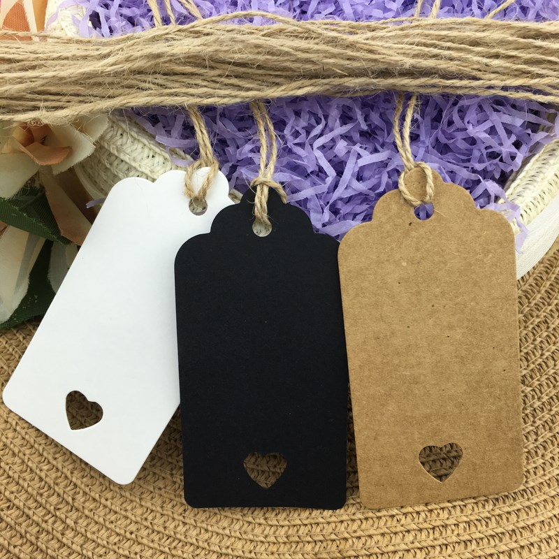 100pcs free hemp rope and 9X4.5cm Hollow Heart Scalloped Kraft Paper Card / Blank Tag / Wedding Favour Gift Tag Price Label