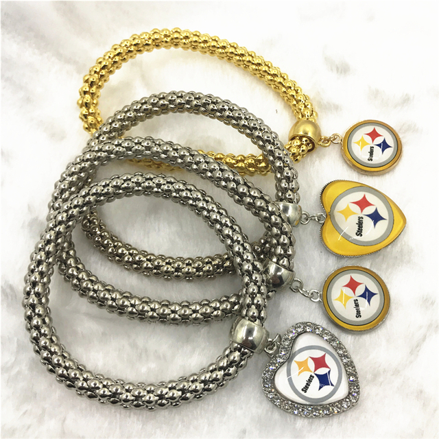 New 6pcs Football Sport Pittsburgh Steelers Bracelets Elastic Snake Chain Bracelet Bangles Usa Fans Jewelry Charms