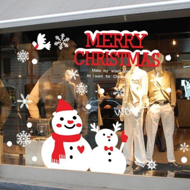 Рождество Дерево Стены Наклейки на Витрины Рождественский Магазин Водонепроницаемый Наклейки С Наступающим Новым Годом Наклейки Снежинка