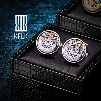 KFLK Jewelry Shirts Cufflinks for Men's Brand Silver Movement Mechanical Big Cuff links Buttons Male High Quality  Free Shipping