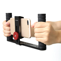 PULUZ Dual handle Rig Phone Stabilizer Adjustable Stabilizer Phone Support Recording Rig for iphone for Xiaomi Huawei Smartphone