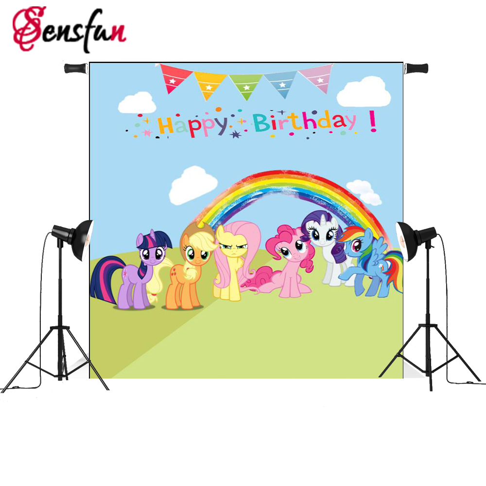 7x5ft My Little Pony Rainbow Birthday Party for Children Custom Photo Studio Backdrop Background Vinyl christmas snow vinyl studio backdrop photography photo background 7x5ft