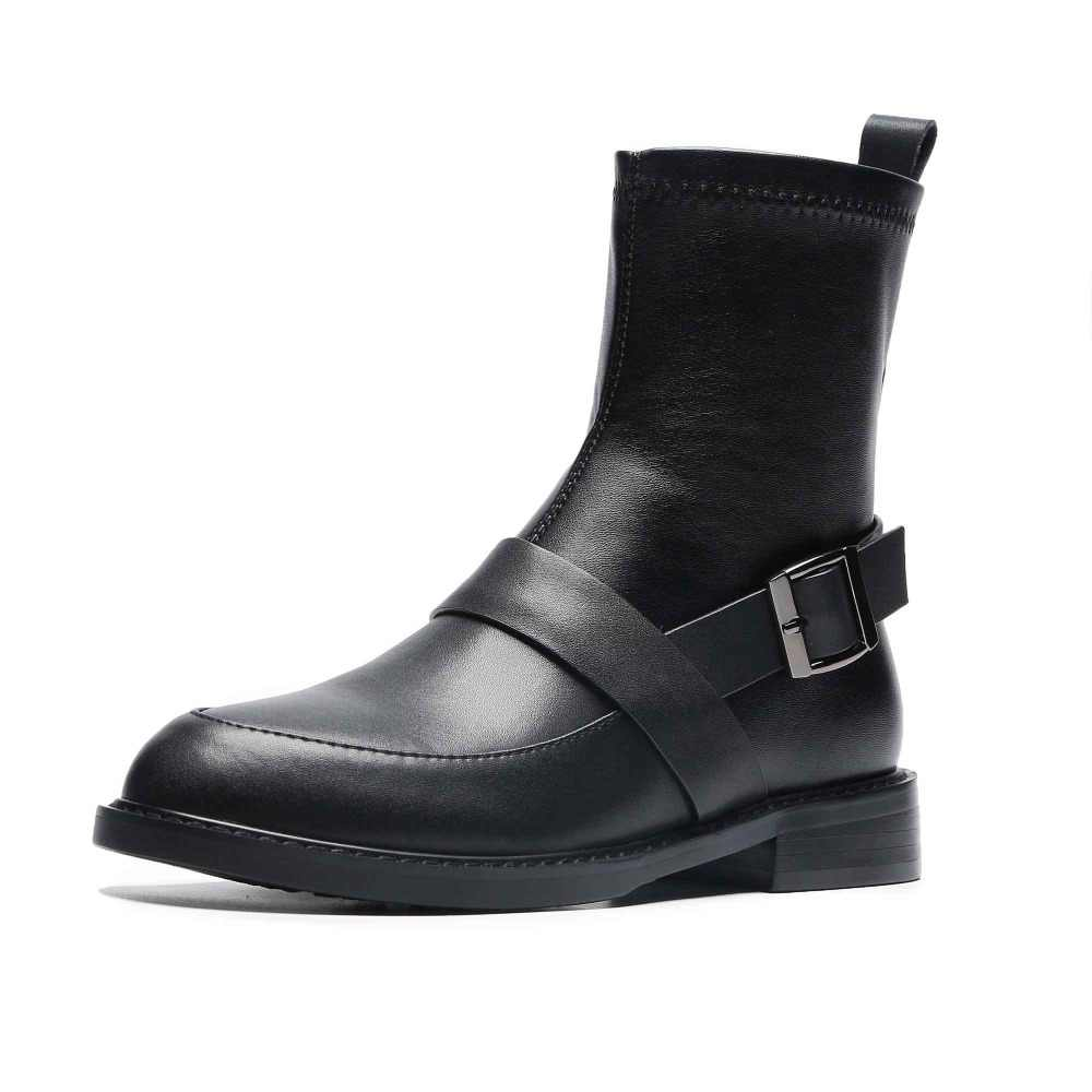 Krazing pot hakiki deri toka kayış kadın marka yarım çizmeler yuvarlak ayak İngiliz okul genç bayan tiki Chelsea çizmeler L09