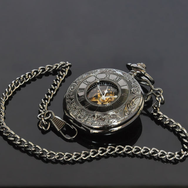 New Classic Black Flower Mens Analog Mechanical Hand winding Pocket Watch with Chain W031