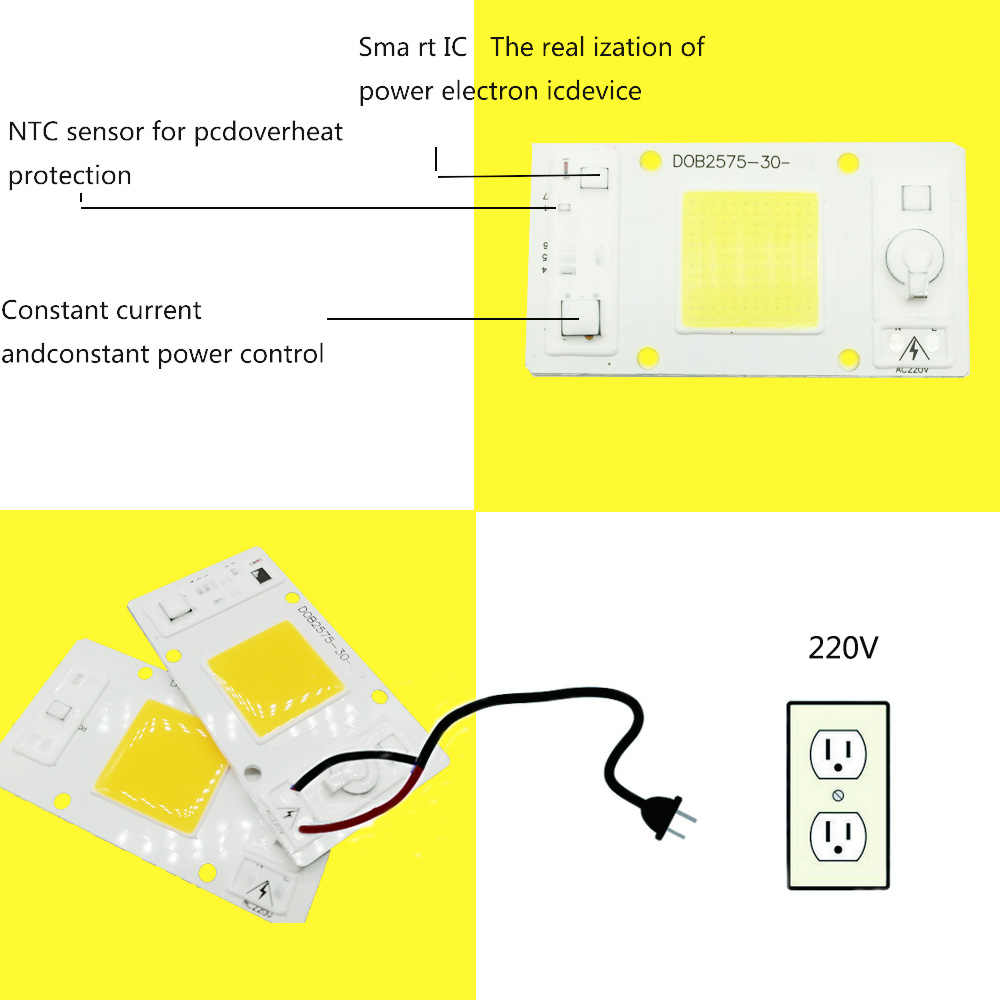 1PCS DOB LED COB Lamp Chip 20W 30W 50W AC 220V Input Smart IC Driver Fit For DIY LED Floodlight Spotlight LED Bulb Cold White