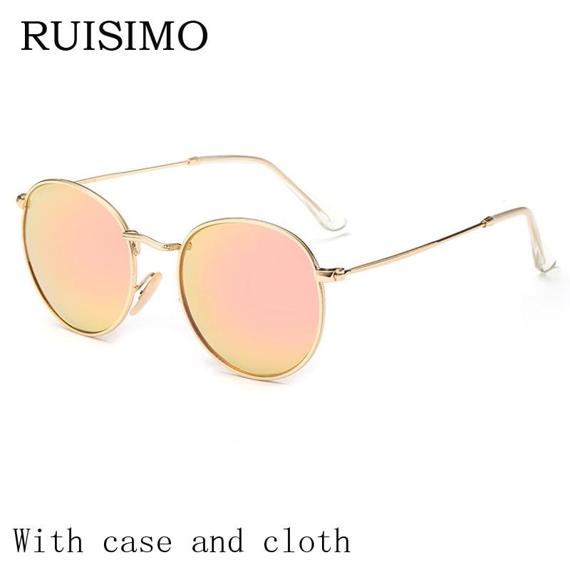 Gafas de sol redondas de la vendimia mujeres hombres mujeres marcos de metal lentes de espejo gafas de sol para mujeres retro Hombre retro de sol