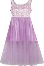 Sunny Fashion платья для девочек новогодние костюмы Атласная Тюль Наложение Принцесса Вечеринка Пурпурный