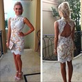 High Neck Mini Cocktail Dresses 2016 Sexy White Lace Party Gowns Sheath Appliqued Vestidos Coctel
