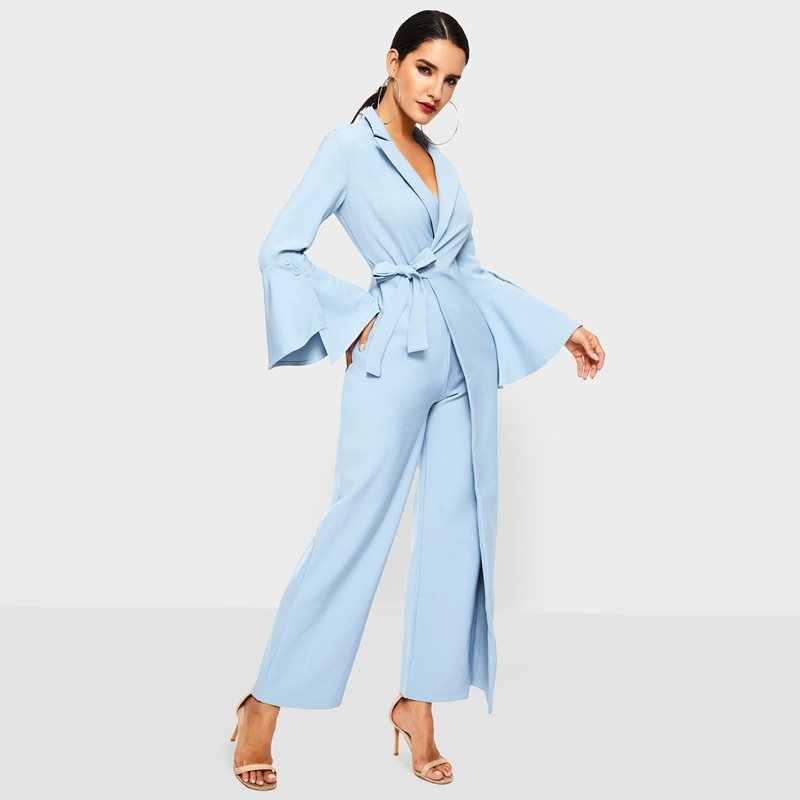 Женский комбинезон с широкими штанинами, Весенняя офисная одежда, модный, на шнуровке, с расклешенными рукавами, серый, элегантный, для женщин, Повседневный, Деловой, для работы, Длинные Комбинезоны
