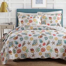 fadfay home textile ocean bedding set queen size soft cotton beach themed bedding quilt set romantic quilted bedspreads 3pcs