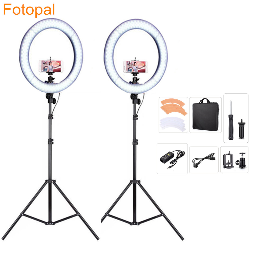Fotopal 2PCS/Lot LED Ring Light Phone Dslr Camera Video Photography Lighting For Makeup Youtube Studio Photo Lamp With Tripod