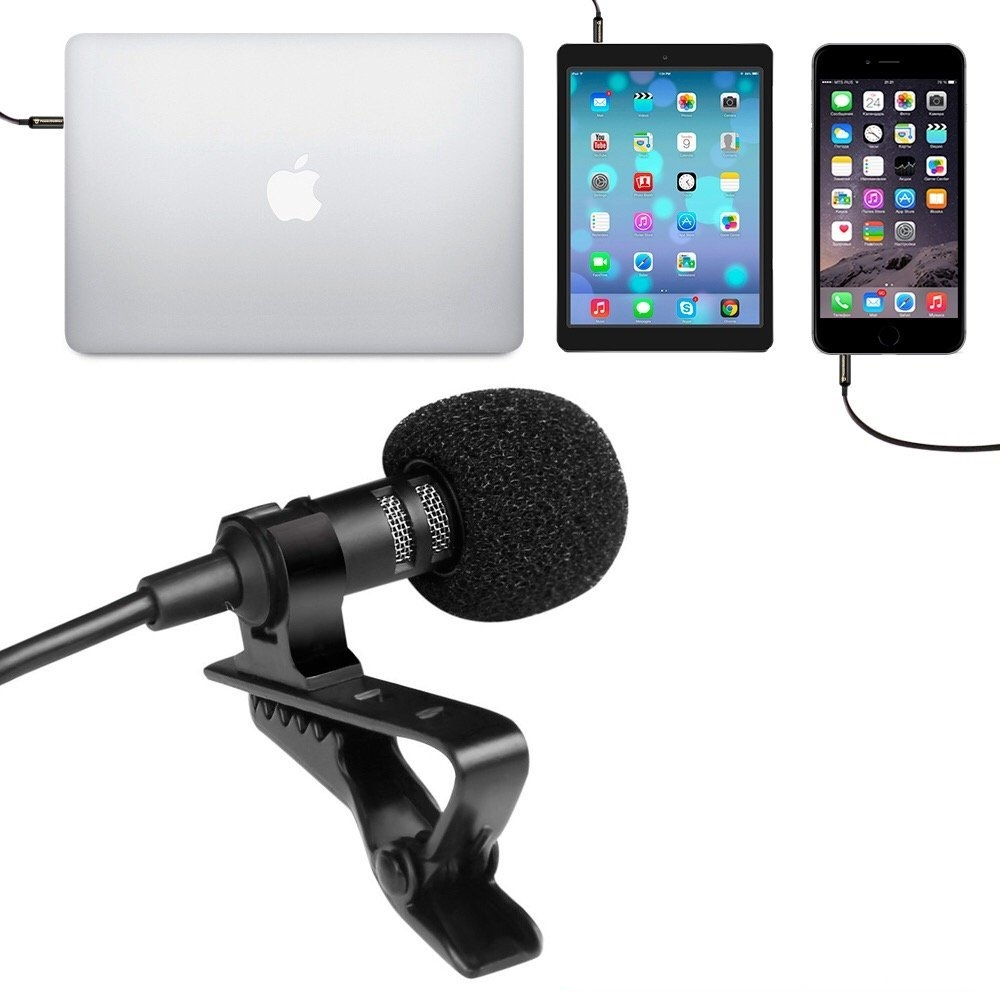 Clip-on Lapel Mic Karaoke KTV 3.5mm Wired Earphone Headset Professional Lapel Condenser Microphone Camera Mic for iPhone iPad PC