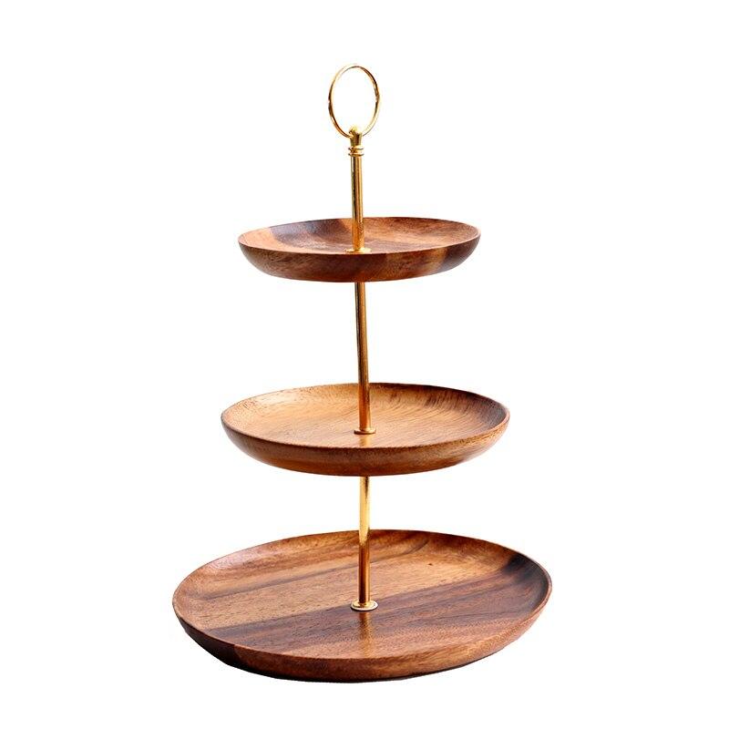Поднос из дерева акации для фруктов/тортов, трехслойная подставка для закусок, Современная твердая древесина, гостиная, послеобеденный чай, кондитерский торт/хлебная тарелка - 5
